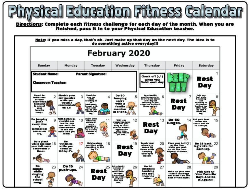 February Fitness Calender